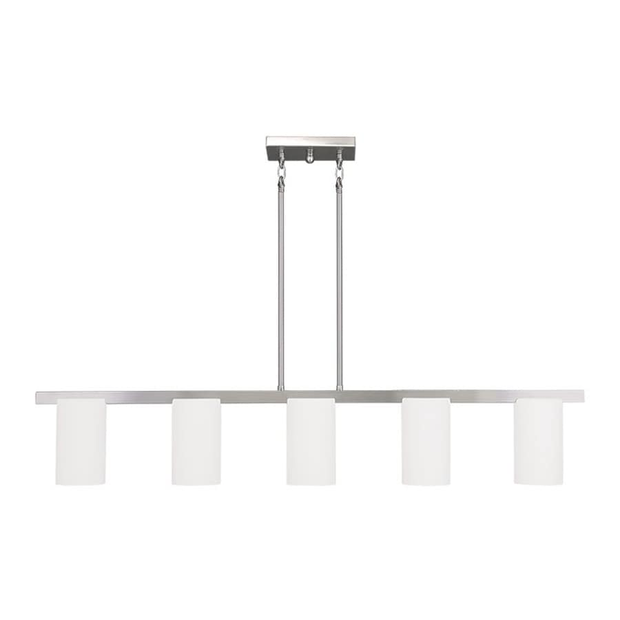 Livex Lighting Astoria 43.75-in W 5-Light Brushed Nickel Kitchen Island Light with White Shade