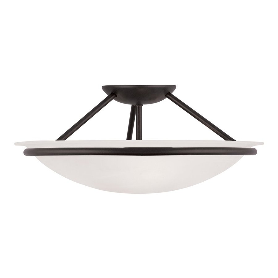 Livex Lighting Newburgh 16-in W Black Alabaster Glass Semi-Flush Mount Light
