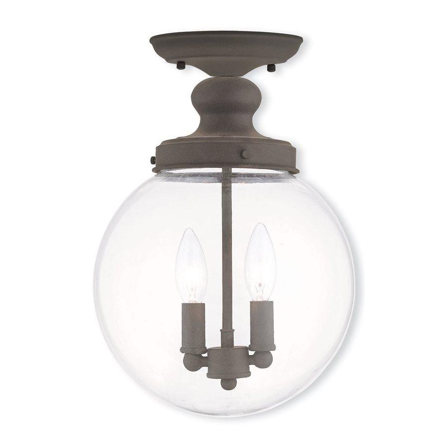 Livex Lighting Sheffield 10-in W Bronze Clear Glass Semi-Flush Mount Light