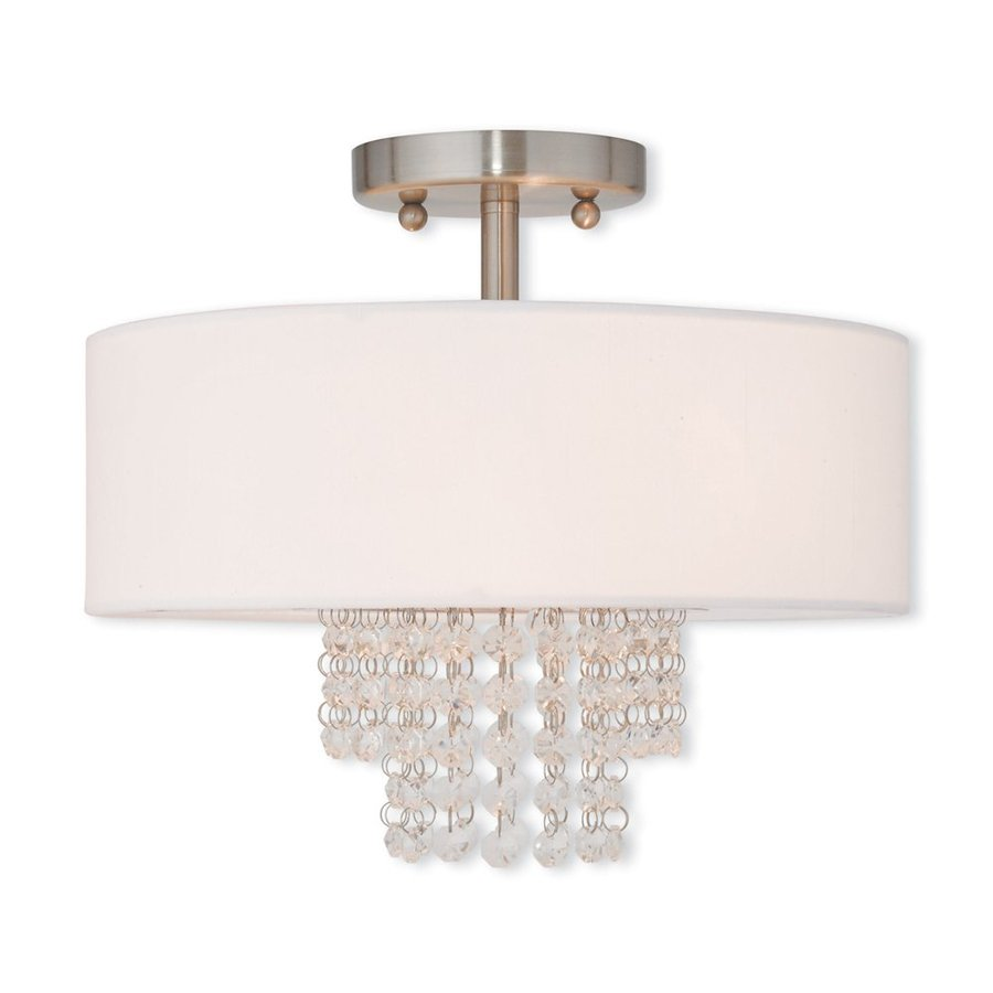 Livex Lighting Carlisle 13-in W Brushed Nickel Fabric Semi-Flush Mount Light