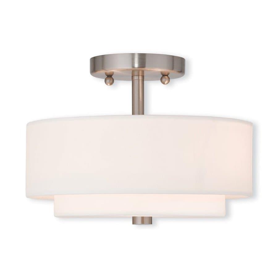 Livex Lighting Claremont 11-in W Brushed nickel Fabric Semi-Flush Mount Light