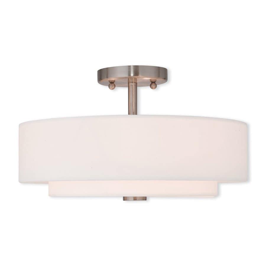 Livex Lighting Claremont 15-in W Brushed Nickel Fabric Semi-Flush Mount Light