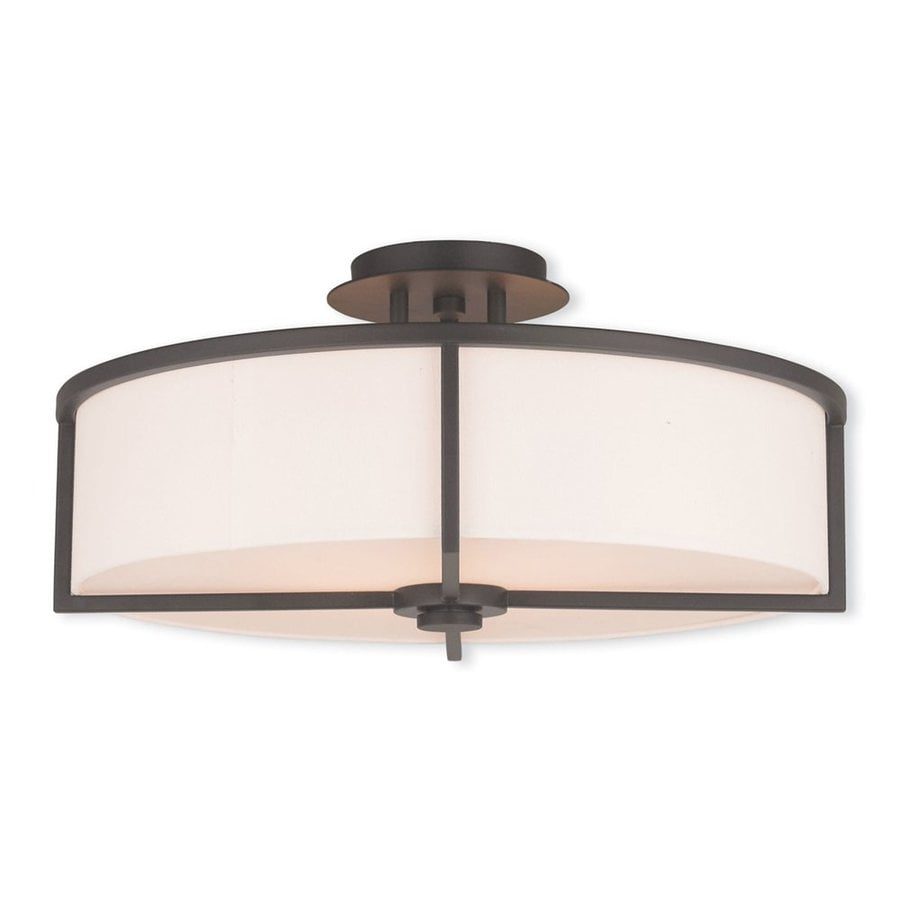 Livex Lighting Wesley 19-in W Bronze Fabric Semi-Flush Mount Light