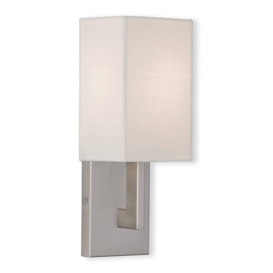 Wall Sconces For Damp Locations : Shop Livex Lighting Hollburn 5-in W 1-Light Brushed Nickel Arm Wall Sconce at Lowes.com