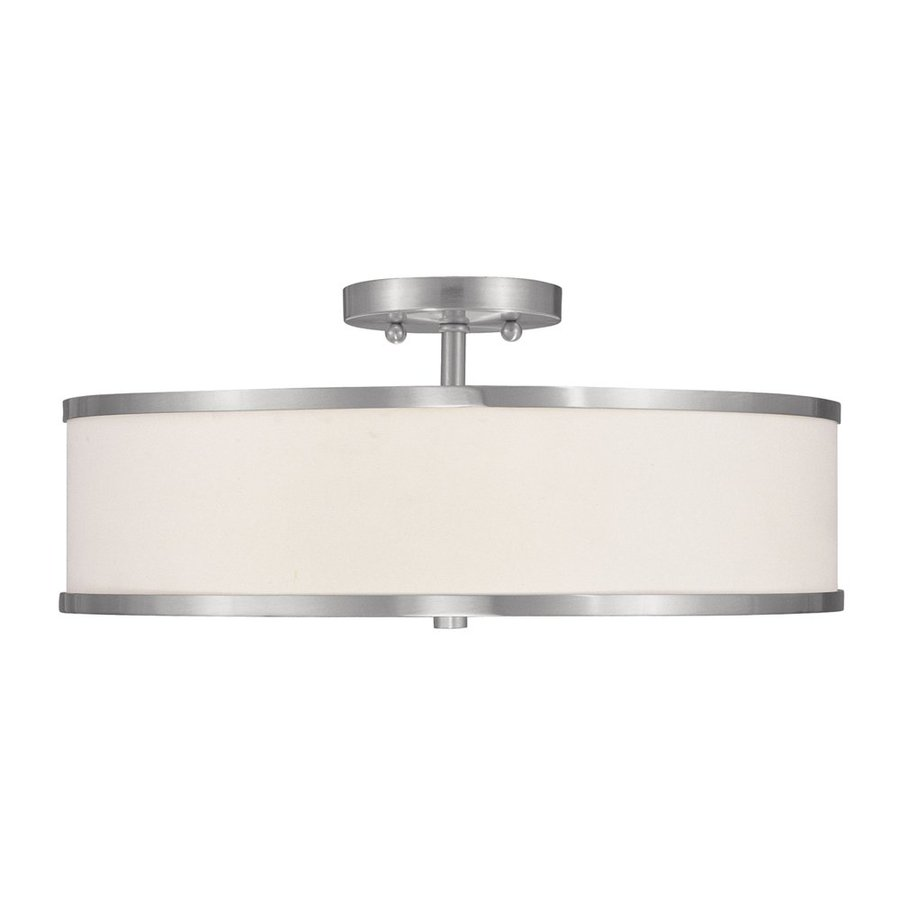 Livex Lighting Park Ridge 18-in W Brushed Nickel Fabric Semi-Flush Mount Light