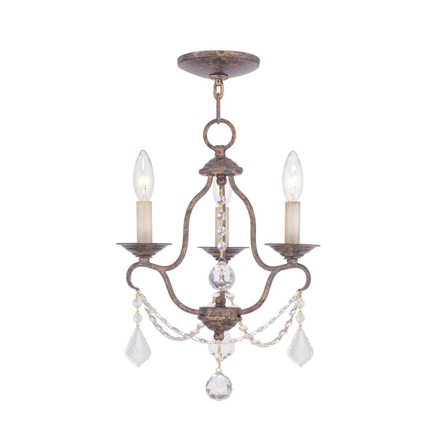 Livex Lighting Chesterfield 12-in 3-Light Venetian Golden Bronze Vintage Candle Chandelier