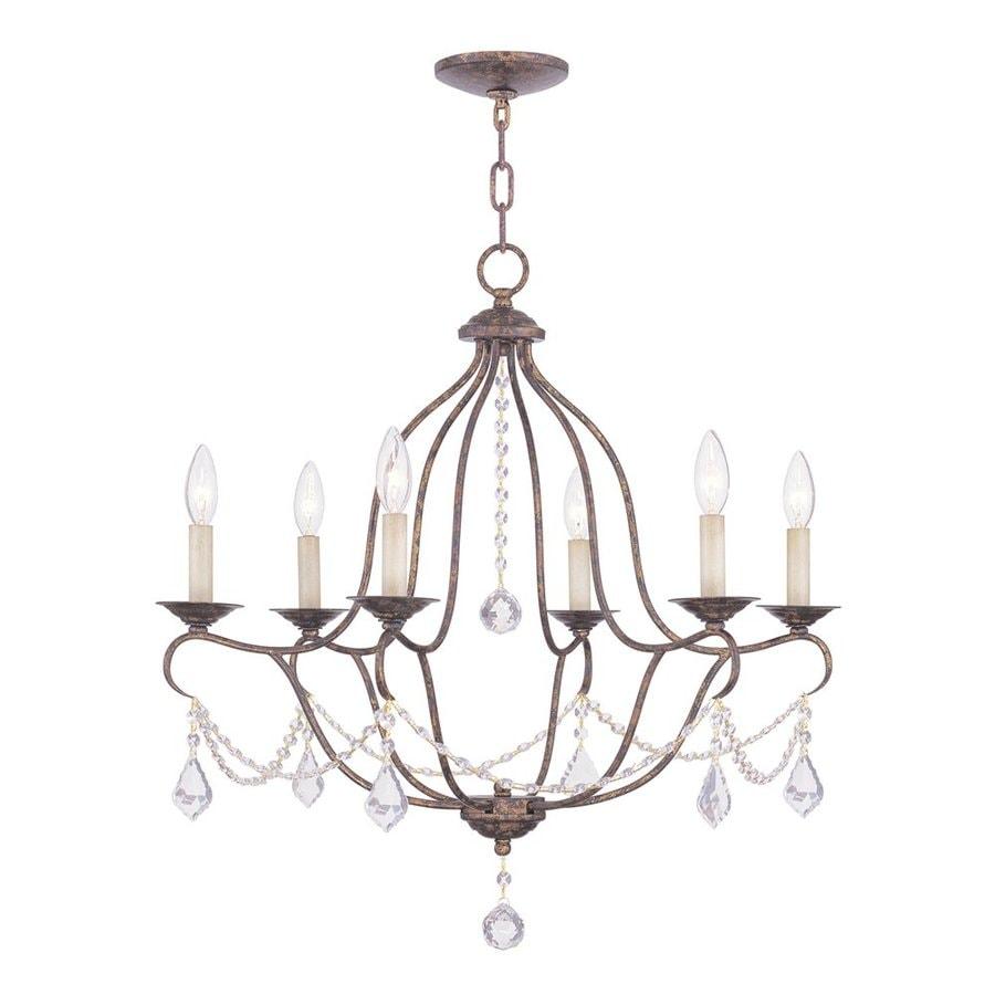 shop livex lighting chesterfield 25 in 6 light venetian golden bronze vintage candle chandelier. Black Bedroom Furniture Sets. Home Design Ideas