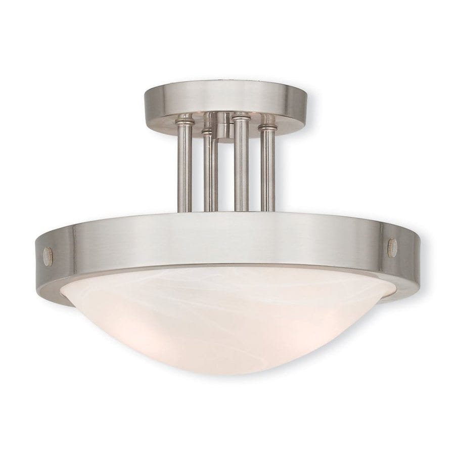Livex Lighting New Brighton 12.25-in W Brushed Nickel Alabaster Glass Semi-Flush Mount Light