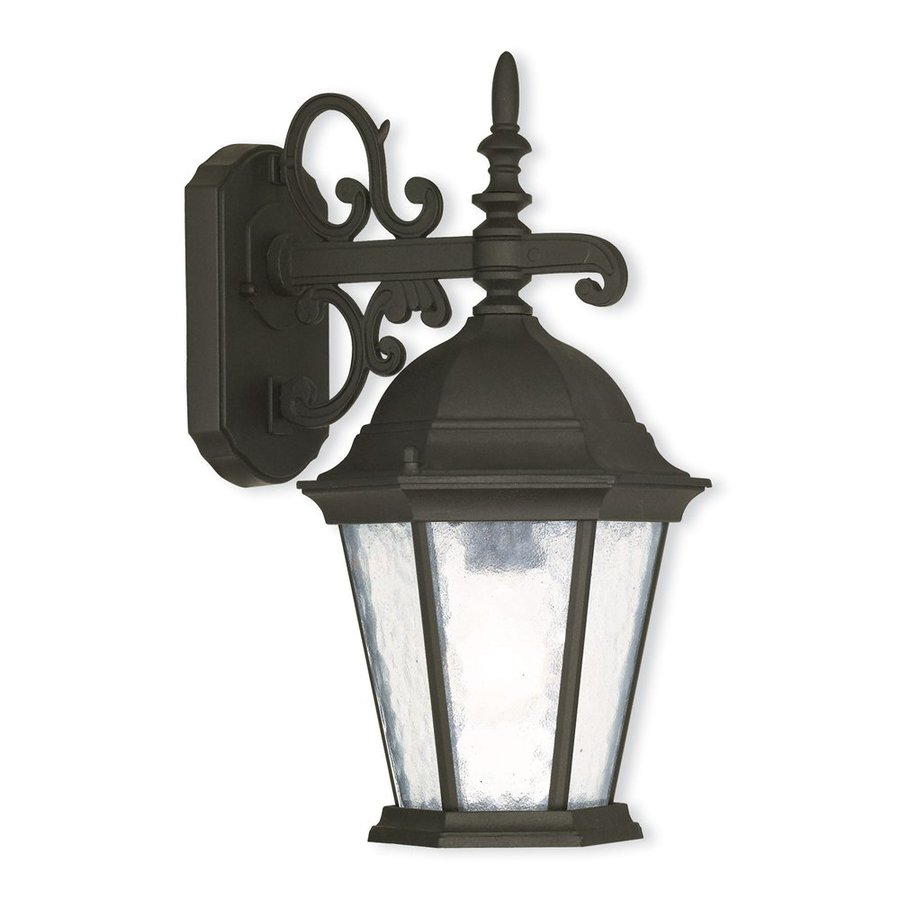 Livex Lighting Hamilton 15.25-in H Textured Black Medium Base (E-26) Outdoor Wall Light