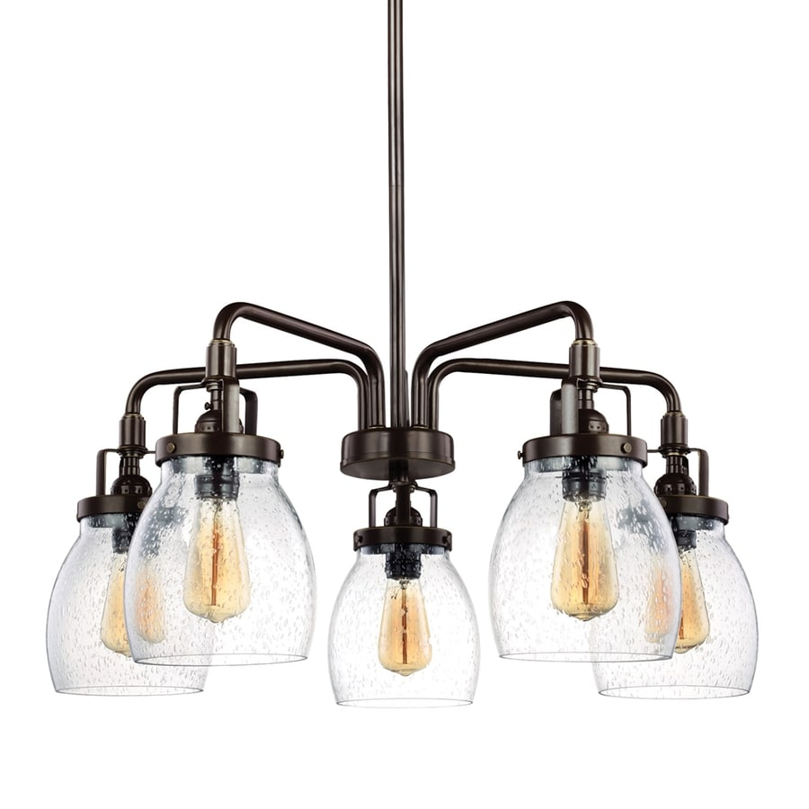 Sea Gull Lighting Belton 23.87-in 5-Light Heirloom bronze Industrial Seeded Glass Draped Chandelier