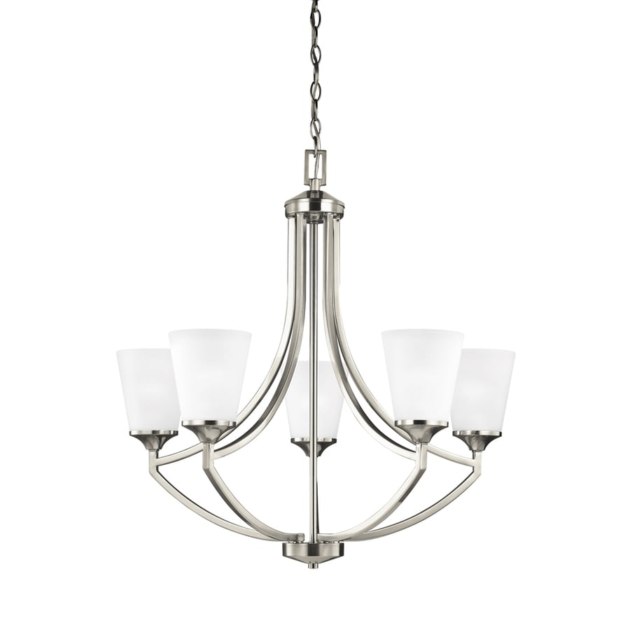 Sea Gull Lighting Hanford 27.62-in 5-Light Brushed Nickel Etched Glass Shaded Chandelier