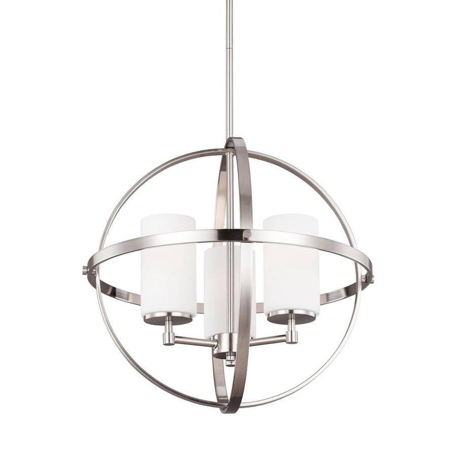 Sea Gull Lighting Alturas 19 In Brushed Nickel Single Etched Gl Orb Pendant