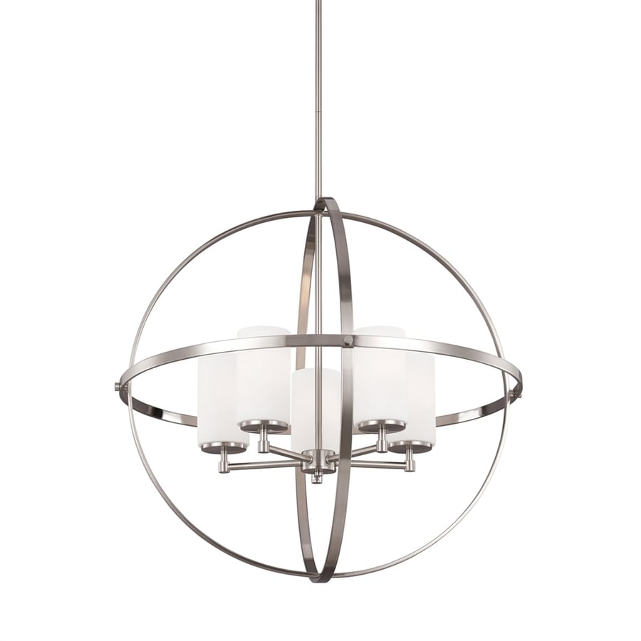 Sea Gull Lighting Alturas 27.25-in Brushed Nickel Single Etched Glass Orb Pendant