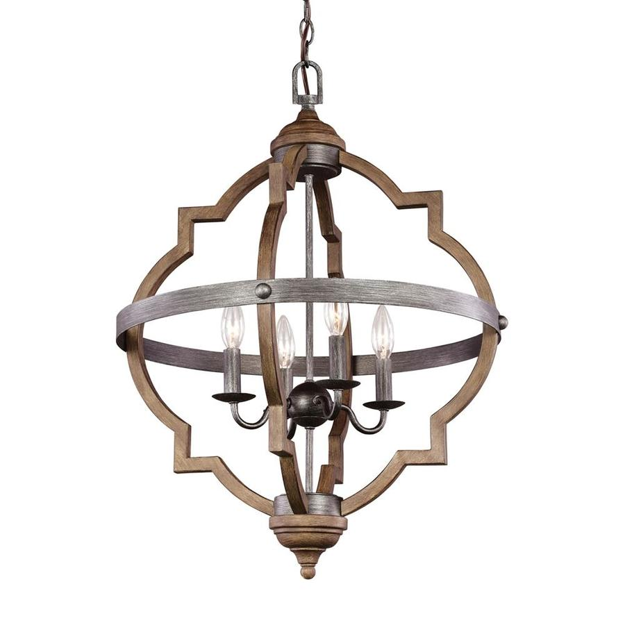 Sea Gull Lighting Socorro 20.87-in Stardust Mediterranean Single Cage Pendant