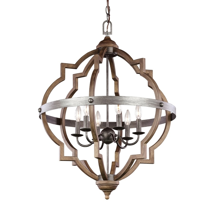 Sea Gull Lighting Socorro 25-in Stardust Mediterranean Single Cage Pendant