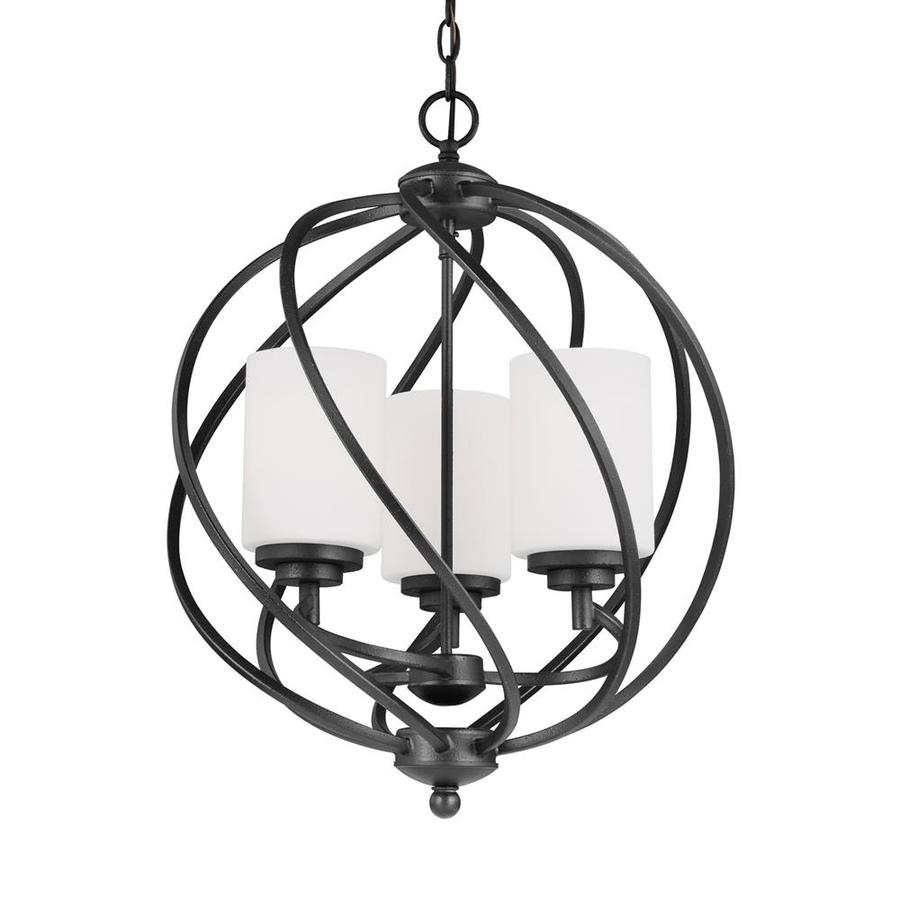 Sea Gull Lighting Goliad 18-in Blacksmith Wrought Iron Single Etched Glass Orb Pendant