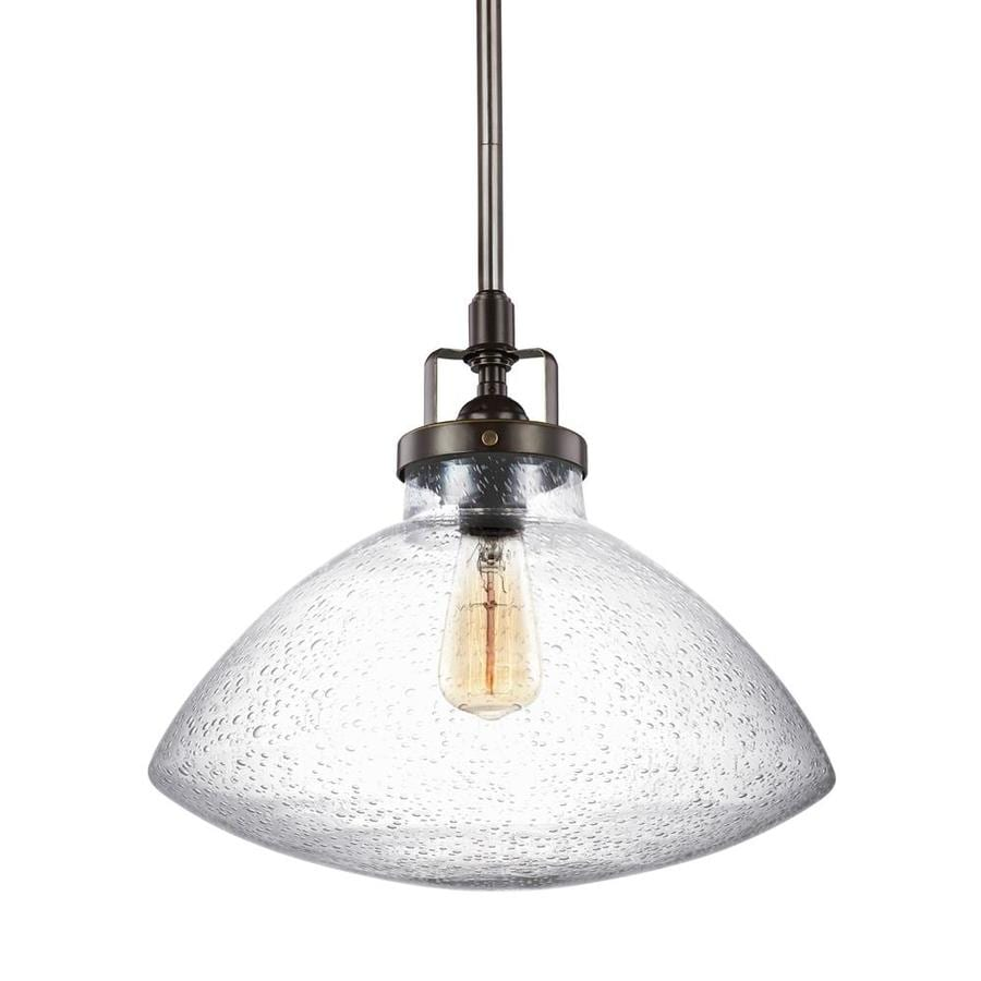 Sea Gull Lighting Belton 12.62-in Heirloom Bronze Industrial Single Seeded Glass Bell Pendant