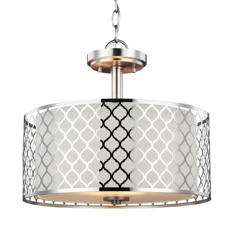 Sea Gull Lighting Jourdanton 15-in Brushed Nickel Single Drum Pendant