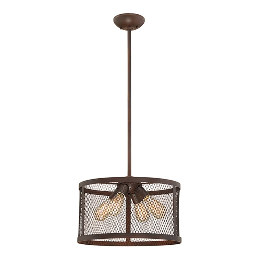 Millennium Lighting Akron 16-in Rubbed Bronze Industrial Single Drum Pendant