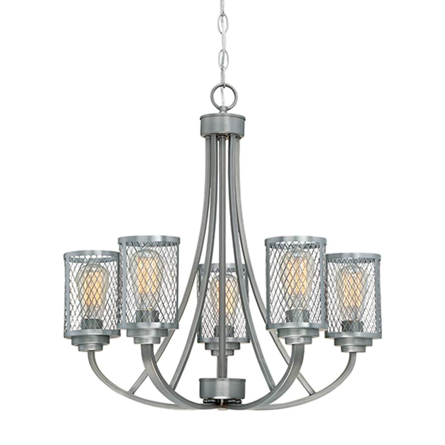Millennium Lighting Akron 25.5-in 5-Light Brushed Pewter Industrial Cage Chandelier