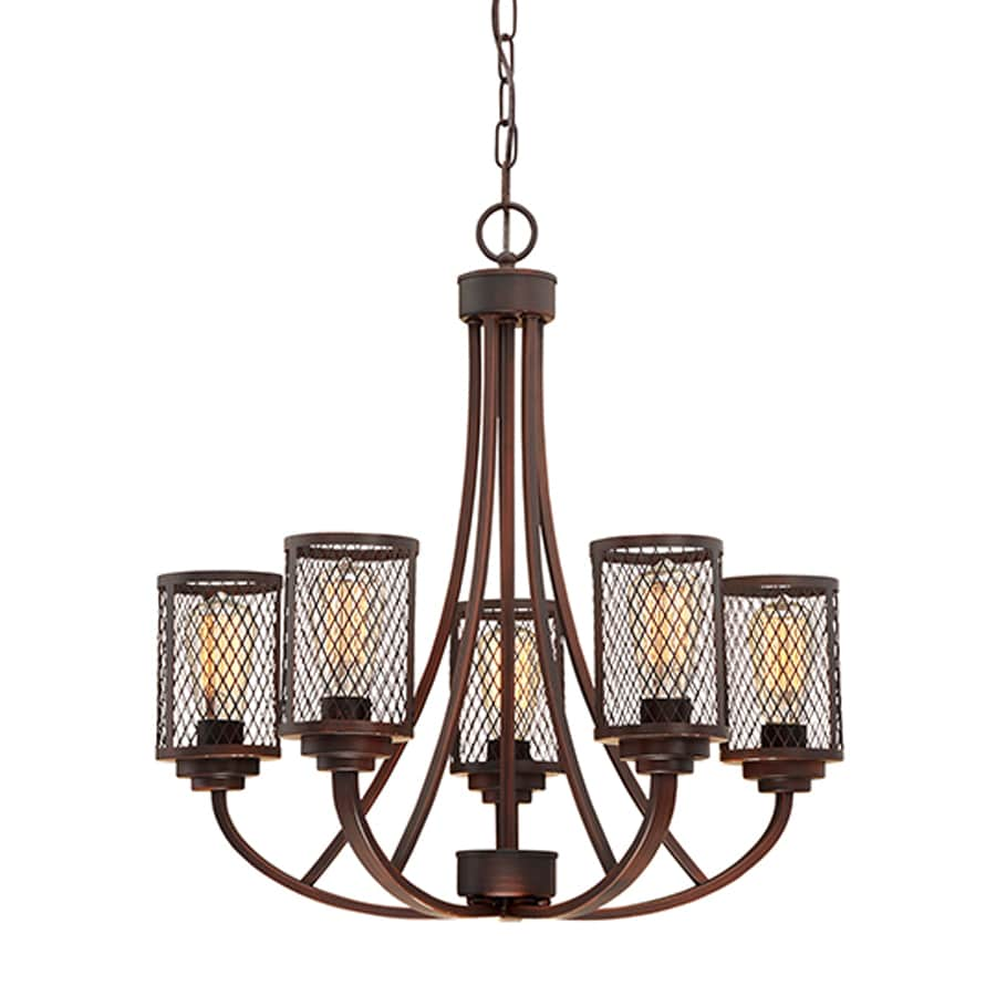 Millennium Lighting Akron 25.5-in 5-Light Rubbed bronze Industrial Cage Chandelier