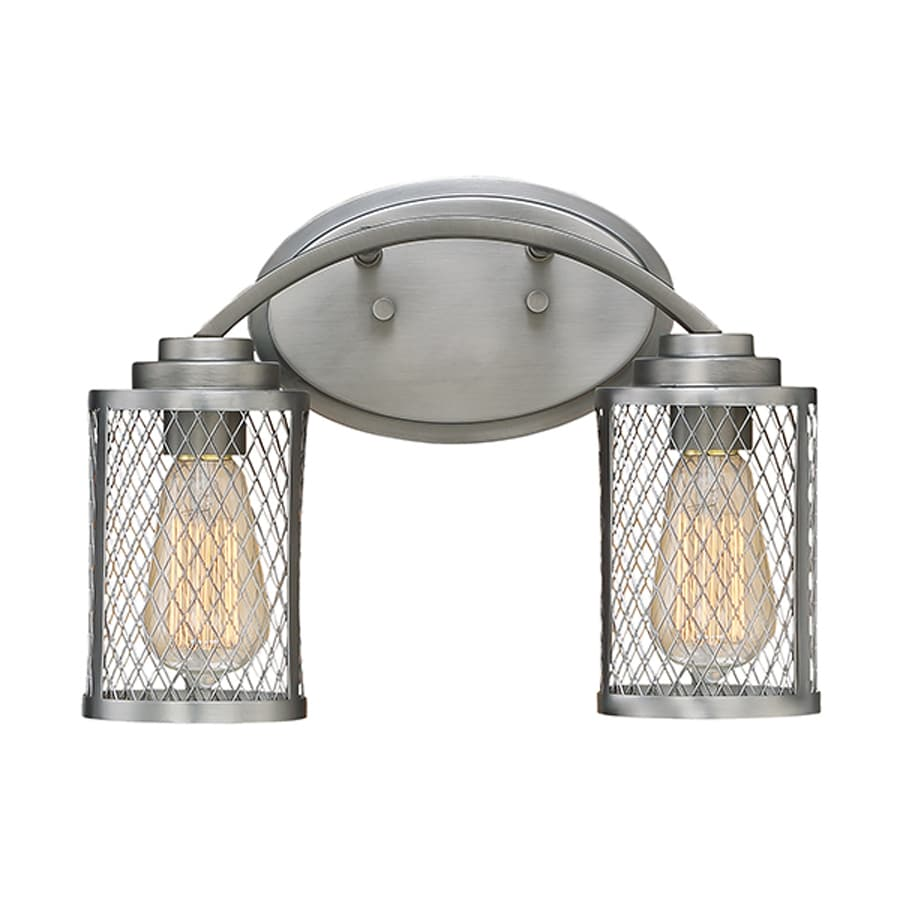 Millennium Lighting Akron 2-Light 9-in Brushed Pewter Cage Vanity Light