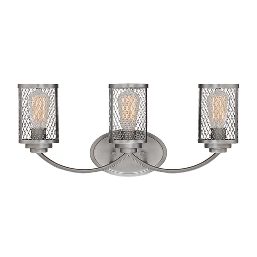 Vanity Light Shade Cage : Shop Millennium Lighting Akron 3-Light 9-in Brushed Pewter Cage Vanity Light at Lowes.com