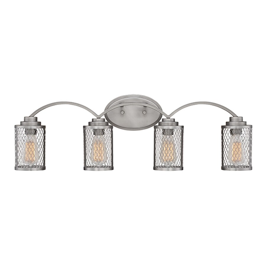 Millennium Lighting Akron 4-Light 9-in Brushed Pewter Cage Vanity Light