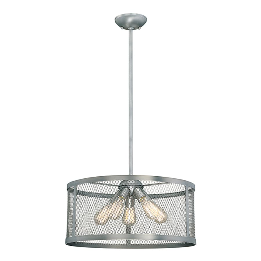Millennium Lighting Akron 20-in Brushed Pewter Industrial Single Drum Pendant