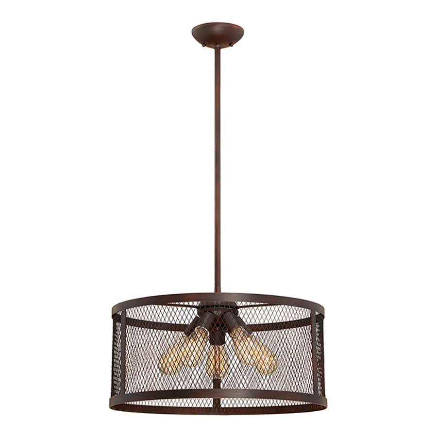 Millennium Lighting Akron 20-in Rubbed Bronze Industrial Single Drum Pendant
