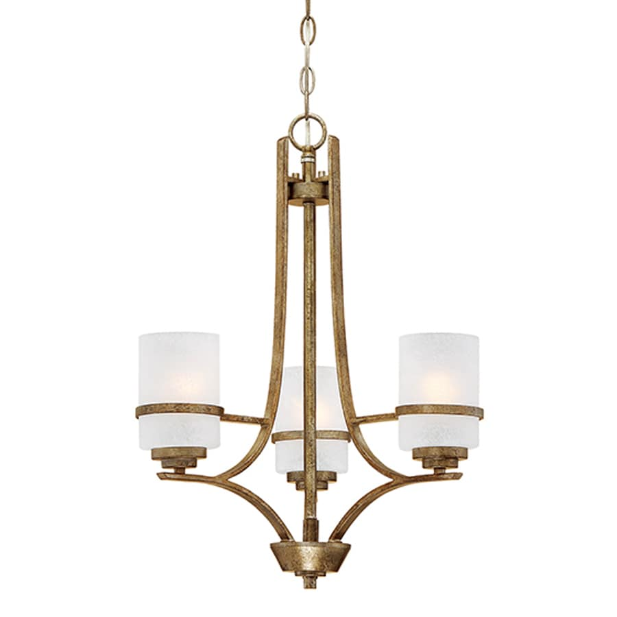 Millennium Lighting Benton 16-in 3-Light Vintage Gold Scavo Glass Shaded Chandelier
