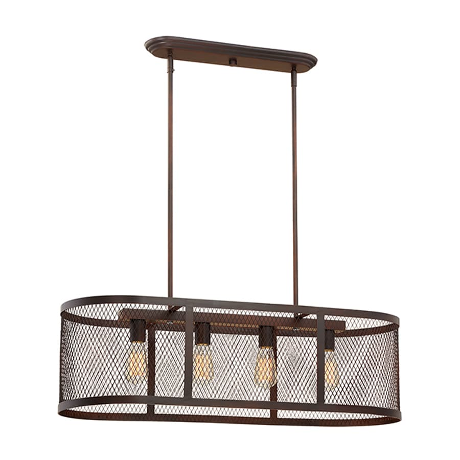 Millennium Lighting Akron 36-in W 4-Light Rubbed Bronze Kitchen Island Light