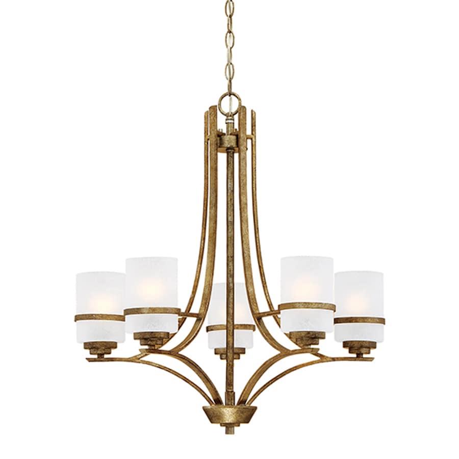 Millennium Lighting Benton 26-in 5-Light Vintage Gold Scavo Glass Shaded Chandelier