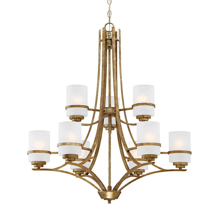 Millennium Lighting Benton 30-in 9-Light Vintage Gold Scavo Glass Tiered Chandelier