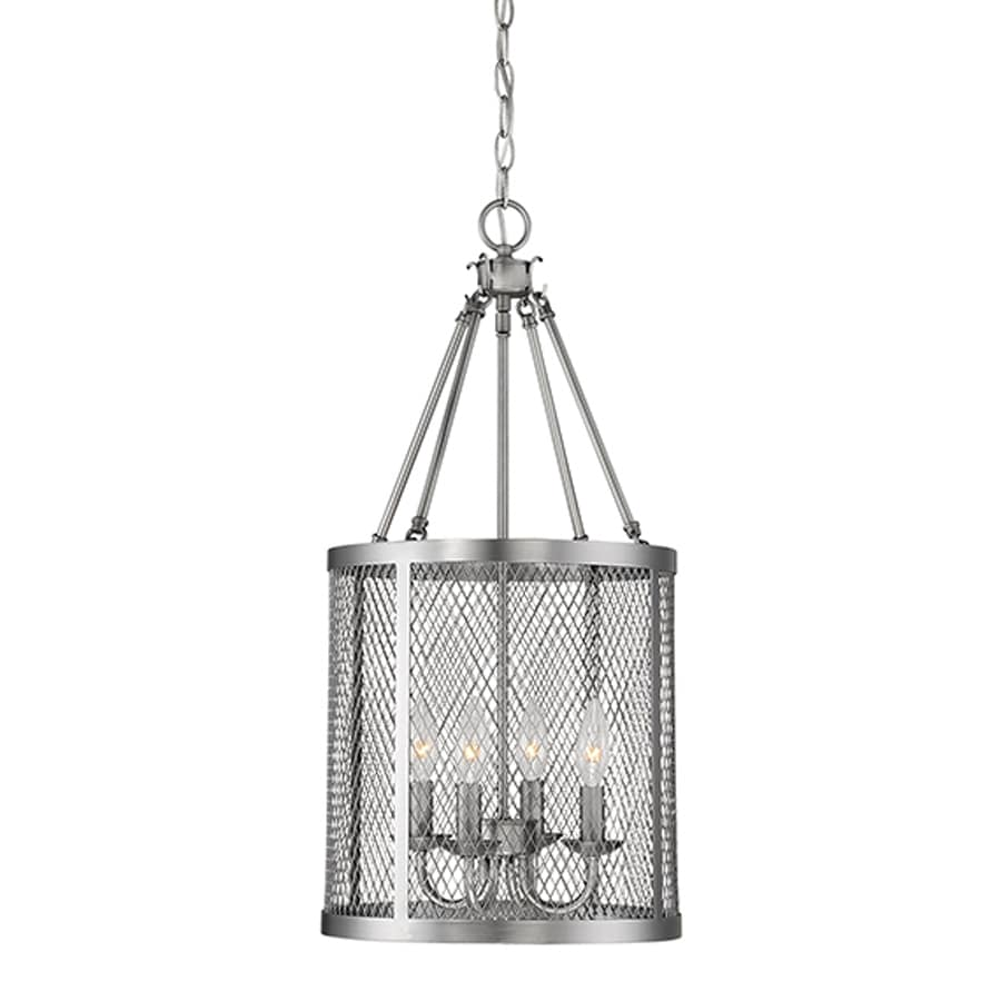 Millennium Lighting Akron 12-in Brushed Pewter Industrial Single Cylinder Pendant