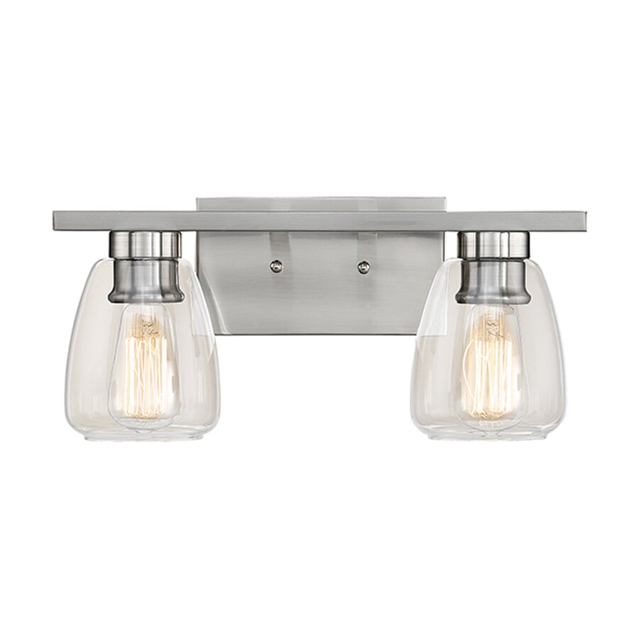 Teardrop Glass Vanity Light : Shop Millennium Lighting 2-Light 9.5-in Satin Nickel Teardrop Vanity Light at Lowes.com