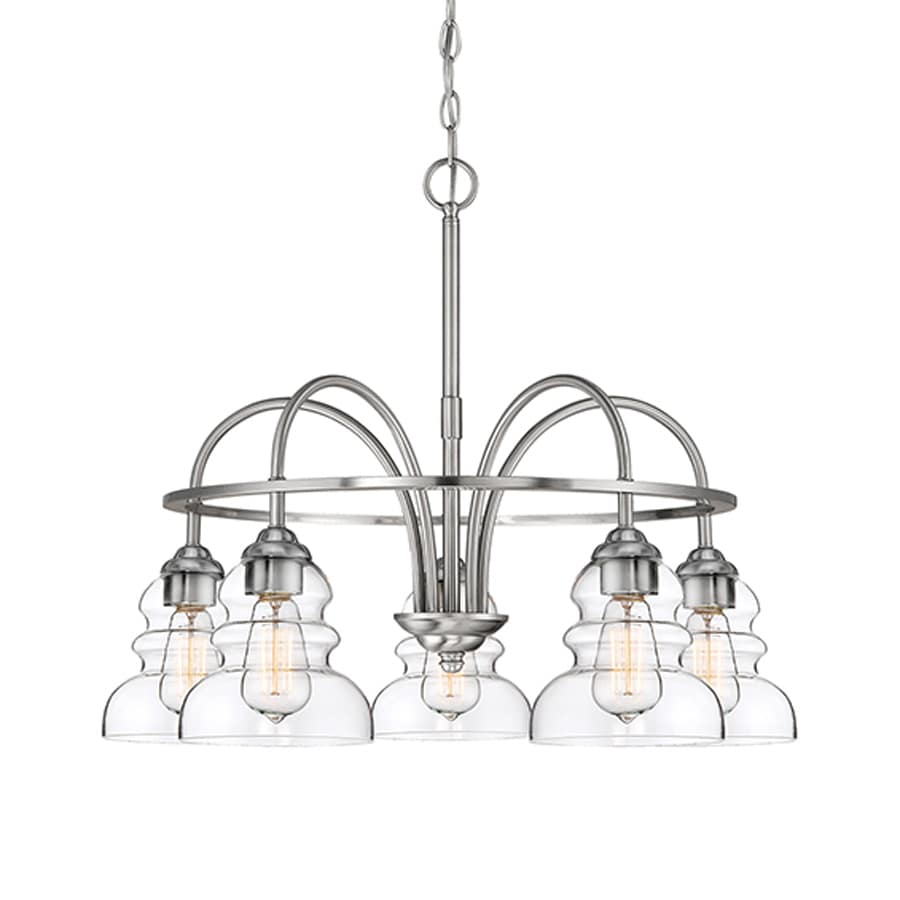 Millennium Lighting 26-in 5-Light Satin nickel Industrial Clear Glass Shaded Chandelier