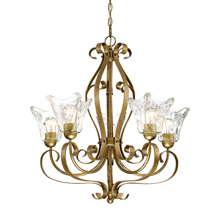 Millennium Lighting Chatsworth 26-in 5-Light Vintage Gold Vintage Clear Glass Shaded Chandelier