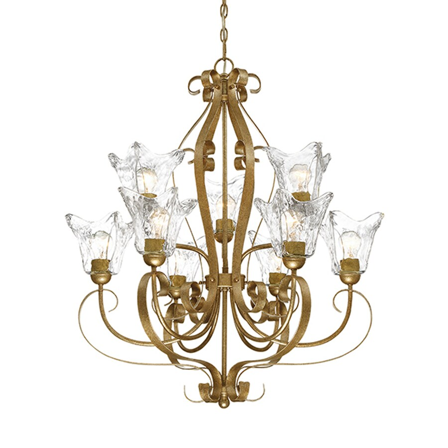Millennium Lighting Chatsworth 30-in 9-Light Vintage Gold Vintage Clear Glass Tiered Chandelier