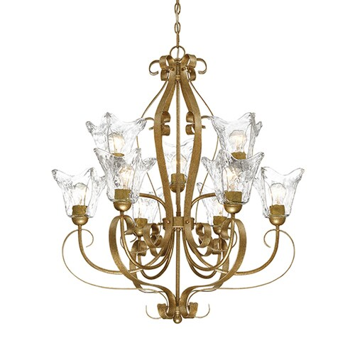 Millennium Lighting Chatsworth 9 Light Vintage Gold Transitional Clear Glass Tiered Chandelier In The Chandeliers Department At Lowes Com