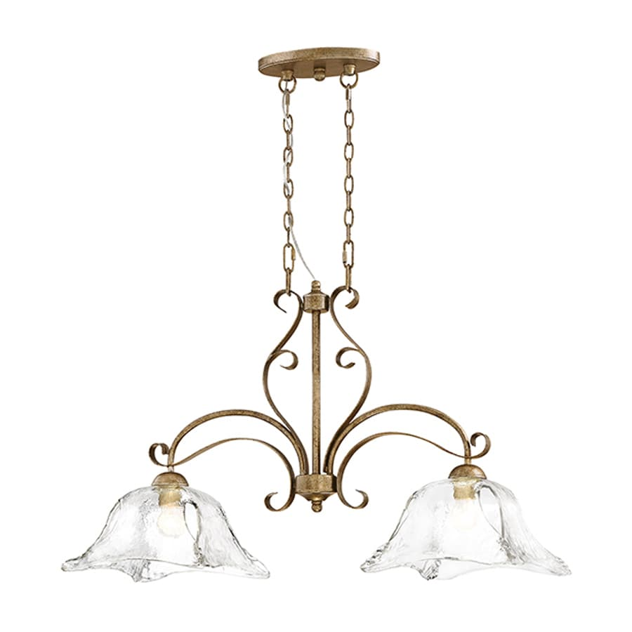 Millennium Lighting Chatsworth 35.5-in W 2-Light Vintage Gold Kitchen Island Light with Clear Shade