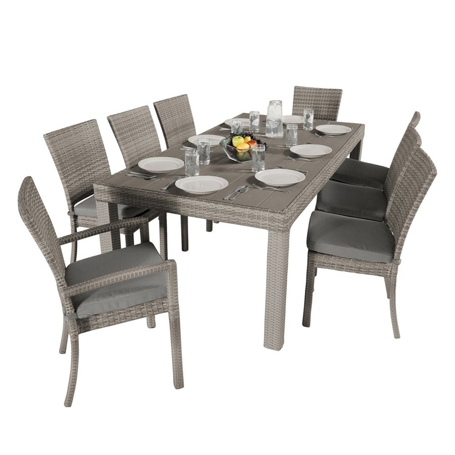 RST Brands Cannes 9-Piece Charcoal Gray Patio Dining Set