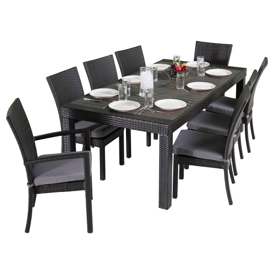 RST Brands Deco 9-Piece Gray Wood Frame Wicker Patio Dining Set with Charcoal Gray  sc 1 st  Loweu0027s & Shop RST Brands Deco 9-Piece Gray Wood Frame Wicker Patio Dining Set ...
