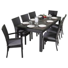 RST Brands Deco 9 Piece Charcoal Gray Wicker Wicker Dining Patio Dining Set  With Sunbrella
