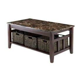 Beau Winsome Wood Zoey Chocolate Marble Faux Marble Coffee Table