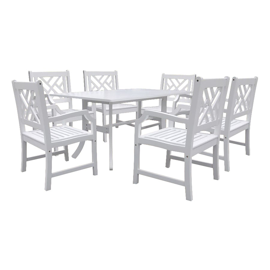 VIFAH Atlantic 7-Piece White Acacia Patio Dining Set