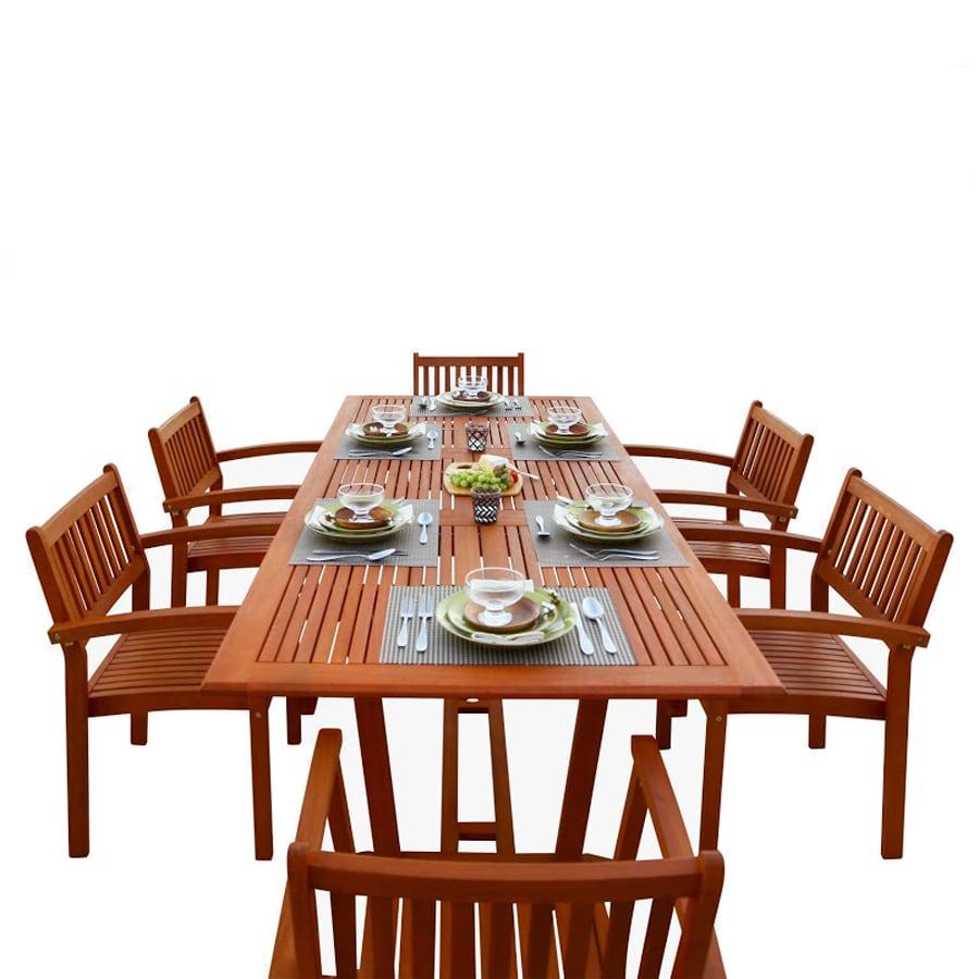 VIFAH Malibu 7-Piece Natural Wood Eucalyptus Dining Patio Dining Set