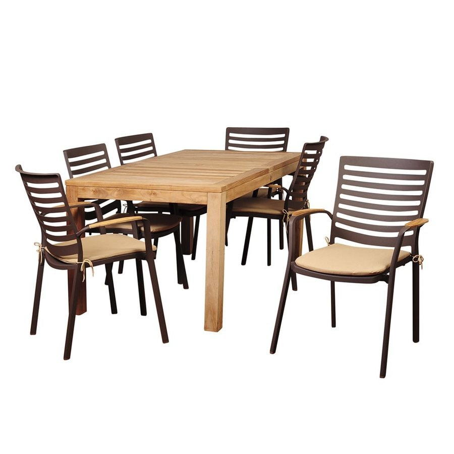 Shop International Home Amazonia Teak 7-Piece Brown Metal Frame ...