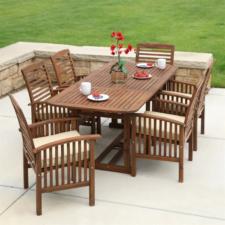 Walker Edison Arcadia 7 Piece Brown Wood Frame Patio Dining Set With Cushions