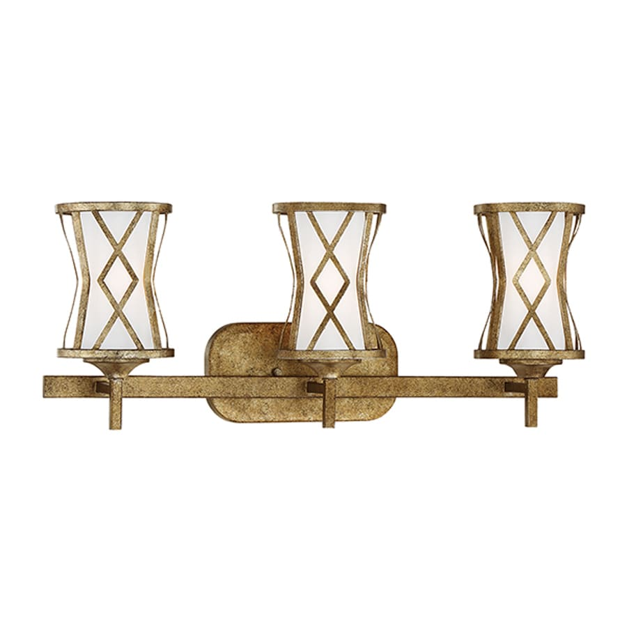 Shop Millennium Lighting Lakewood 3-Light 9.5-in Vintage Gold Geometric Vanity Light at Lowes.com